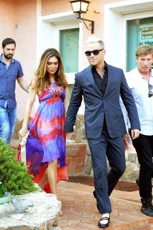Sardinia (Italy) Robbie Williams with his wife Ayda Field in Porto Cervo